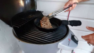 cooking steak on electric grill